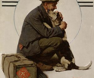 art, dog, and rockwell image
