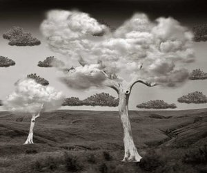 art, clouds, and black and white image