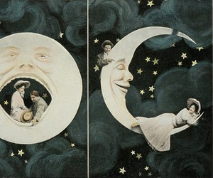 moon, couple, and vintage image