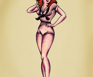 illustration, sailor girl, and sailor jerry image