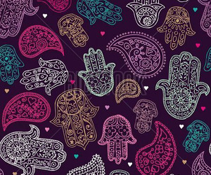 Seamless Hand Of Fatima Paisley Background Pattern In Vector
