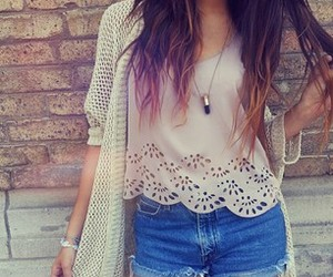 cardigan, fashion, and long hair image