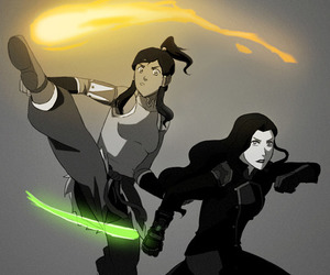 fighting, asami, and korra image
