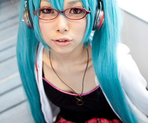 cosplay, glasses, and hatsune image