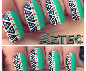 nails, aztec, and nail art image