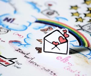 love, rainbow, and hearts image