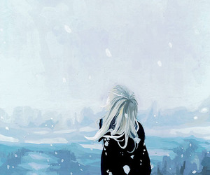 anime girl, blue, and illustration image