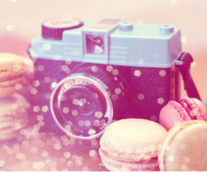 camera, macaroons, and photography image