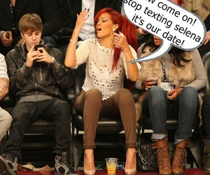 rihanna, justin bieber, and funny image