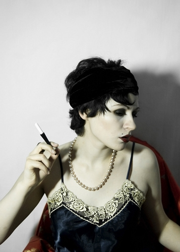 flapper girl, lace, and smoking image
