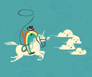 unicorn, clouds, and doodle image