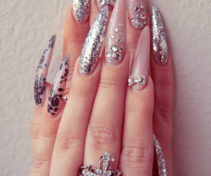 nails, glitter, and long nails image