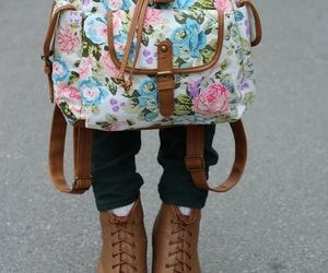 fashion, bag, and flowers image