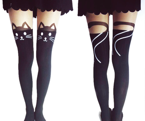 cat, leggings, and style image