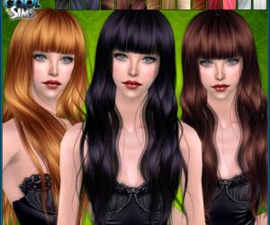 bangs, black hair, and sims image