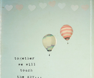 sky, quote, and balloons image