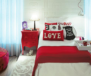 red, bedroom, and room image
