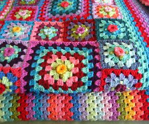 crochet, granny square, and rainbow image