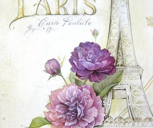 paris, background, and flowers image