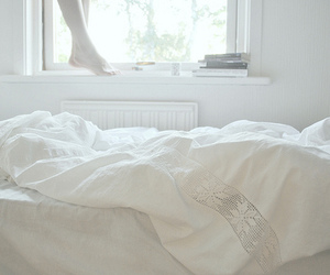bed, white, and vintage image