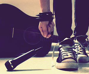music, converse, and guitar image