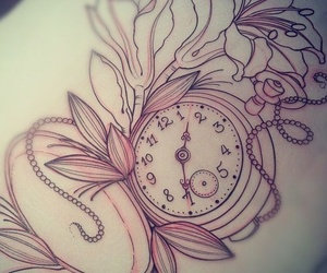 tattoo, flowers, and clock image