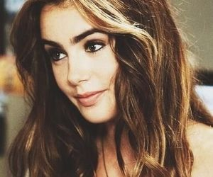 lily collins, hair, and black and white image
