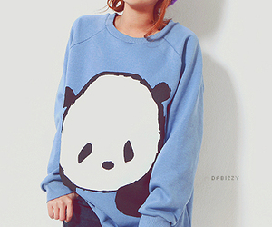 panda, girl, and blue image