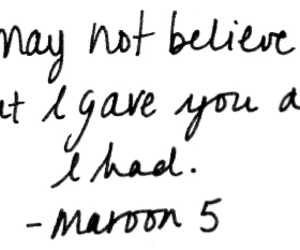 quote, maroon 5, and Lyrics image