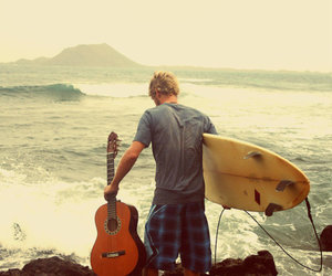 boy, guitar, and surf image