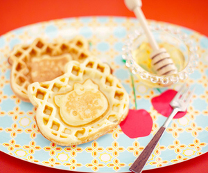 hello kitty, waffles, and food image