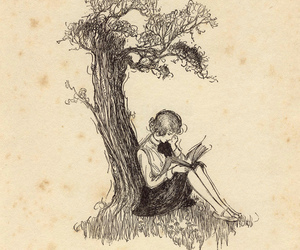 book, tree, and reading image