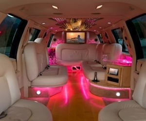 pink, car, and limousine image