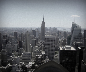 black and white, buildings, and city image