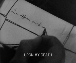 black and white, death, and subtitles image
