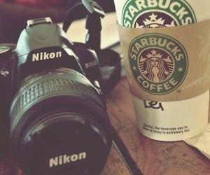 coffee, nikon, and starbucks image