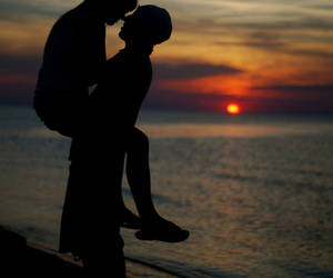 love, sunset, and couple image