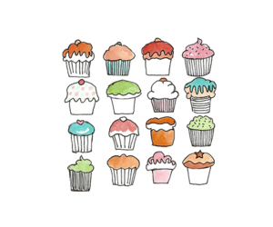 cupcake, muffin, and overlay image