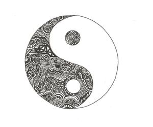 black and white, ying yang, and black image