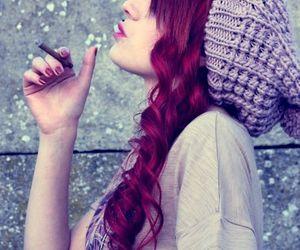 girl, hair, and smoke image