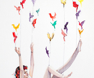 bird, girl, and Dream image