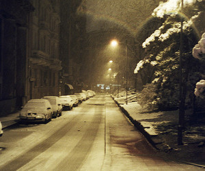 snow, night, and snowing image
