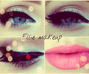 blue eyes, pink lips, and soft makeup image