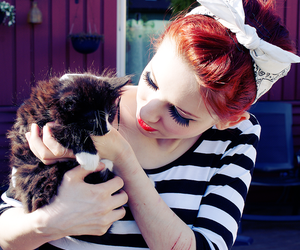 girl, cat, and red hair image