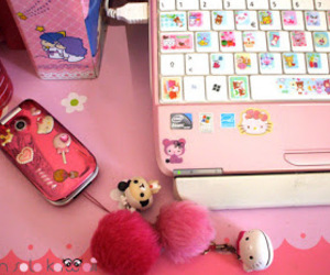 cute, pink, and hello kitty image