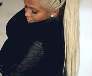 blonde, girl, and black image
