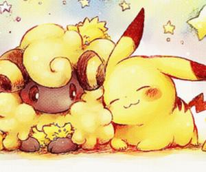 kawaii, pikachu, and star image