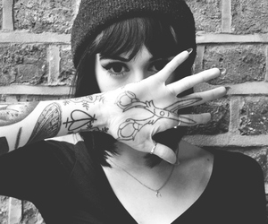 girl, tattoo, and black and white image