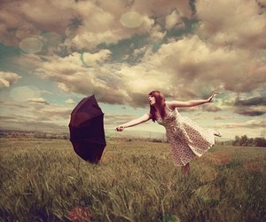 girl, umbrella, and sky image