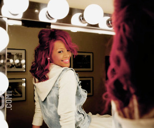rihanna, mirror, and red hair image